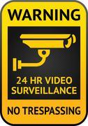 Video surveillance label - stock illustration