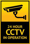 Sign security camera - stock illustration