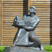 monument of prince yaroslav the wise near the golden gate of kiev - stock photo