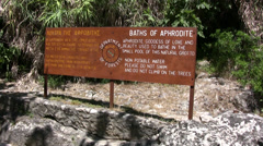 Baths of Aphrodite signpost Stock Footage