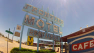 Stock Video Footage of Frontier Motel And Restaurant Sign On Route 66- Truxton AZ