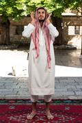 Muslim praying in mosque Stock Photos