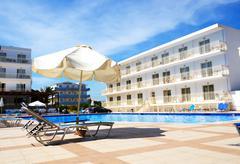 swimming pool at luxury hotel, crete, greece - stock photo