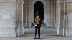 Time-lapse of a trainee member of the Household Cavalry standing still Stock Footage