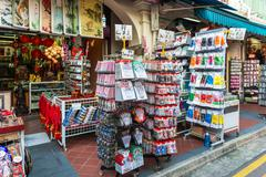 Singapore - june 20 : bustling street of chinatown district on june 20, 2014 Stock Photos