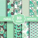 Stock Illustration of seamless patterns set with flowers, for invitations, cards, scrapbooking, print