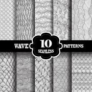 Seamless patterns set with waves, for invitations, cards, scrapbooking, print Stock Illustration