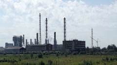 Industrial Plant with smoking towers Stock Footage