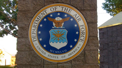 United States Air Force Insignia On Pillar Close Up Stock Footage