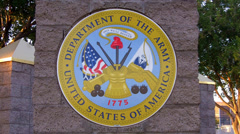 United States Army Insignia On Pillar Close Up Stock Footage