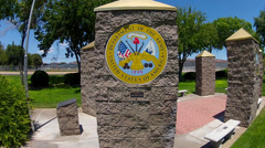 United States Army Insignia On Pillar In Park- Kingman AZ Stock Footage