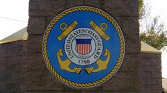 United States Coast Guard Insignia On Pillar Close Up Stock Footage