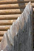 Fragment of old palisade. Stock Photos