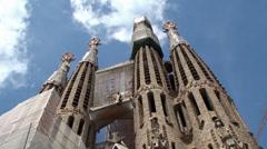 Types of Sagrada Familia church. Passion (Western side) facade. - stock footage