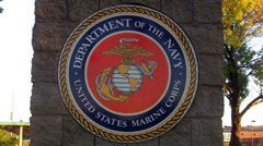United States Marine Corps Insignia On Pillar Close Up Stock Footage
