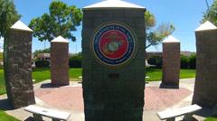 United States Marine Corps Insignia On Pillar In Park- Kingman AZ - stock footage