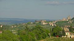 Italy landscape, green hills of Tuscany, San Gimignano.. Stock Footage