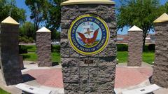 United States Navy Insignia On Pillar In Park- Kingman AZ Stock Footage