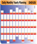 daily monthly yearly 2015 planning chart - stock illustration