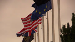 Flags (United Kingdom, USA, Europe) Stock Footage