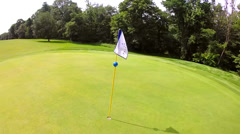 Aerial Shot Around Flagstick on Golf Course Stock Footage