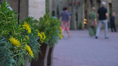 Italy, Tuscany, ancient streets and towers of San Gimignano, selective focus. Stock Footage