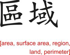 Stock Illustration of Chinese Sign for area, surface area, region, land, perimeter