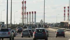 MOSCOW CIRCA 2014: Downtown highway traffic. Industrial landscape Stock Footage