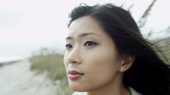 Portrait Close Up Thoughtful Young Asian Chinese Girl Stock Footage