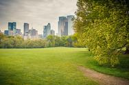 Stock Photo of Central park at rainy day