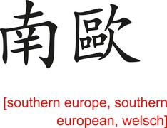 Chinese Sign for southern europe, southern european, welsch - stock illustration
