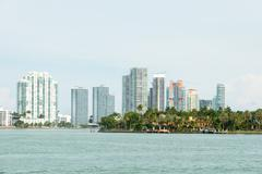 Biscayne bay with star island on the foreground and miami beach Stock Photos