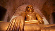 Stock Video Footage of Golden Buddha statue inside Bagan temple