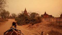 Temples of Bagan, Myanmar, on a horse chariot Stock Footage