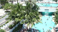 Hotel resort pool deck Stock Footage