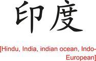 Stock Illustration of Chinese Sign for Hindu, India, indian ocean, Indo-European
