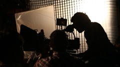 Silhouette of camera men Stock Footage