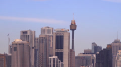 Sydney tower in city Stock Footage