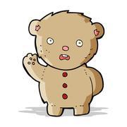 cartoon unhappy teddy bear - stock illustration
