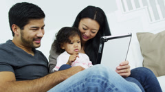 Parents Pre School Daughter Home Playing Wireless Technology Stock Footage
