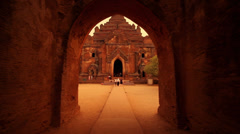 Tracking shot of a temple entrance in Bagan, Myanmar Stock Footage