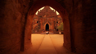 Stock Video Footage of Tracking shot of a temple entrance in Bagan, Myanmar