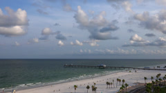Looking down at  Clearwater beach and Pier Stock Footage