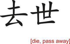 Chinese Sign for die, pass away Stock Illustration