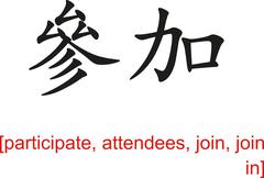 Chinese Sign for participate, attendees, join, join in - stock illustration