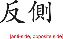 Stock Illustration of Chinese Sign for anti-side, opposite side