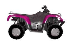 Pink atv bike side view 3d illustration isolated on white. Stock Illustration
