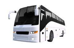 white tour bus isolated on solid white background. bus illustration. - stock illustration