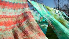 Colorful Fabric on Cloths Lines, Dancing in the Wind Stock Footage