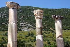 corinthian columns near the agora - stock photo